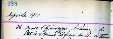record of the April 26, 1911 Mass : detail