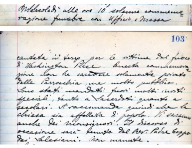 Announcement of the April 26, 1911 Memorial Mass