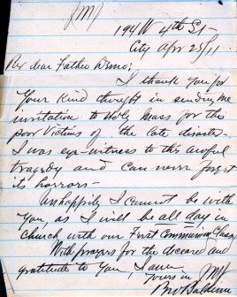 Brother Baldwin's letter, April 25, 1911