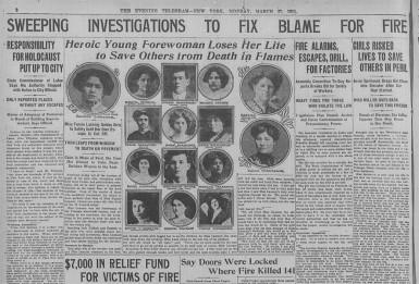 NY Evening Telegram, March 27, 1911 - Forewoman Fannie Lansner