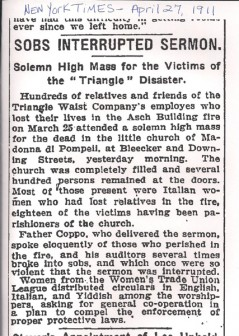 NYTimes, Memorial Mass at Our Lady of Pompei