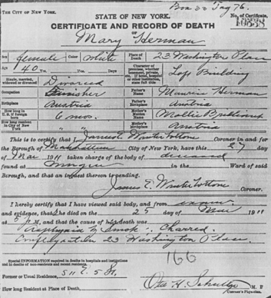 Certificate And Record Of Death Of Mary Herman