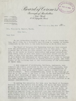 letter to the mayor : manhattan coroners