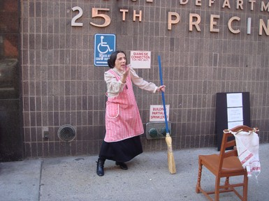 As Mama Saracino, at the site of the family's apartment 118 East 119th Street